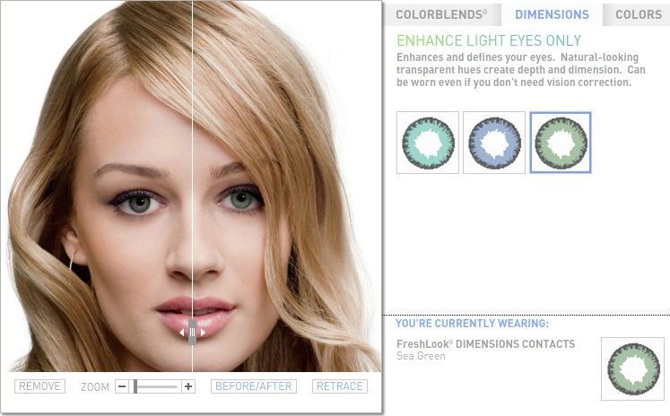 On this page, using the tools below, you can choose contact lenses colour.